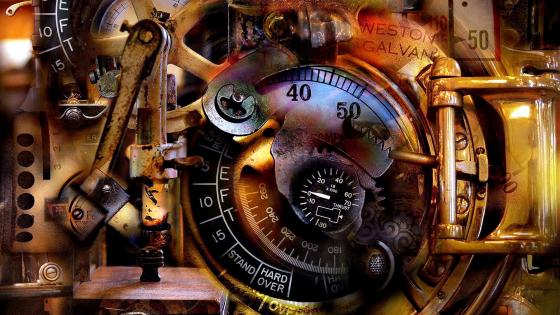Surreal steampunk watch wallpaper