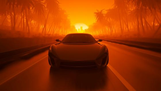 Synthwave car on the road in the sunset wallpaper