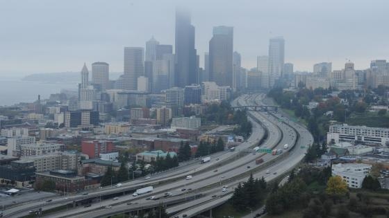 Freeway through Downtown Seattle wallpaper