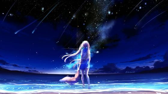 Anime girl looks the shooting stars wallpaper