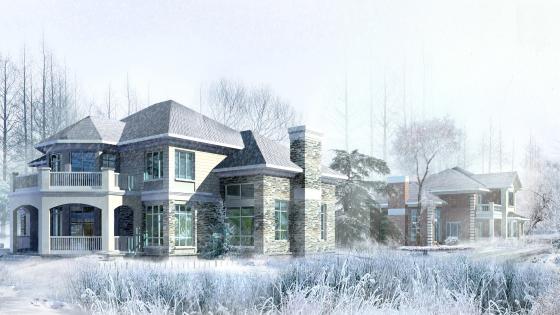 Model house in winter wallpaper