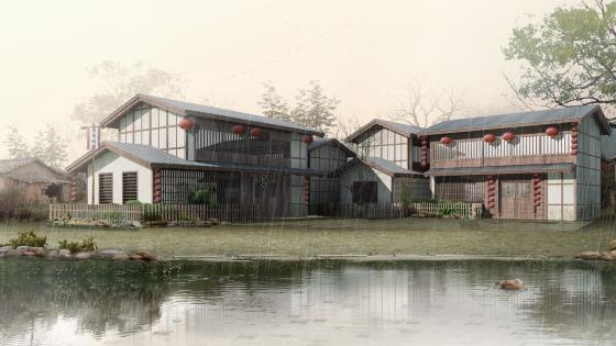 3D lakeside house in the rain wallpaper