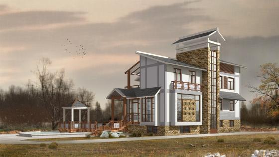 3D modern house model wallpaper