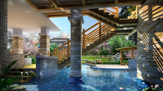 Luxury house with swimming pool wallpaper