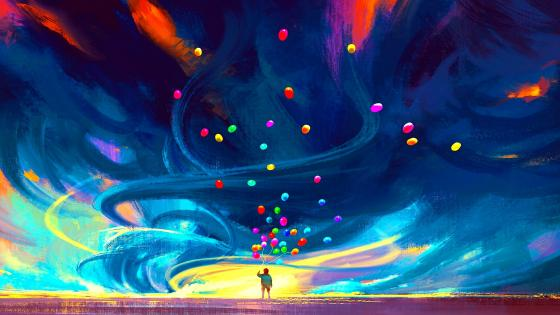 Man with balloons Digital Painting wallpaper
