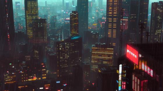 Sci-fi metropolis wallpaper