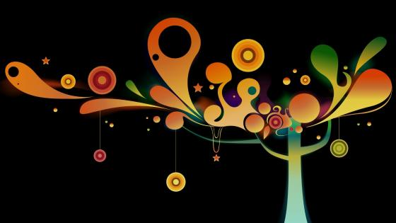 Colorful abstract tree wallpaper