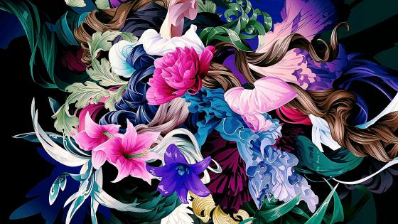 Flowers illustration wallpaper