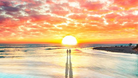 Loving Couple Watching The Sunset wallpaper