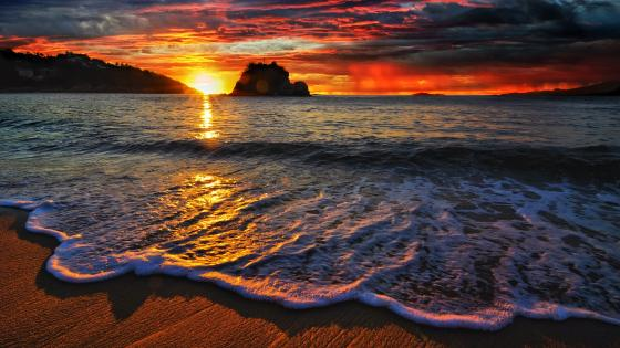 Sunset from the beach wallpaper