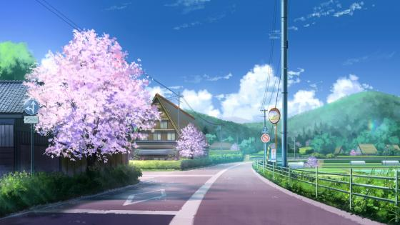 Springtime anime landscape wallpaper