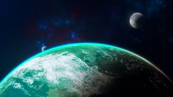 Earthlike planet with twin moons wallpaper