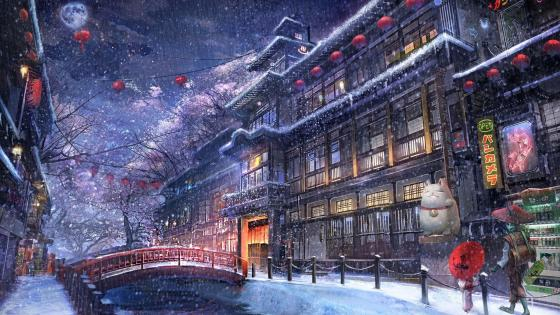 Chinese anime city wallpaper
