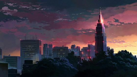 Fantasy city at night wallpaper