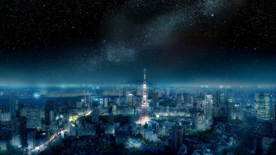Milky way over the Tokyo Tower wallpaper