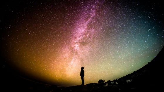 Man silhouette under the Milky Way wallpaper
