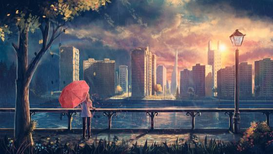 Girl in the rain - Anime art wallpaper