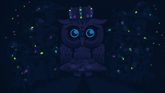 Owl on a mushroom wallpaper