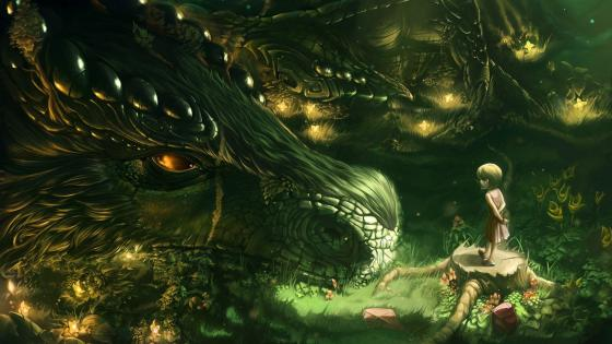 Dragon and a little girl friendship wallpaper
