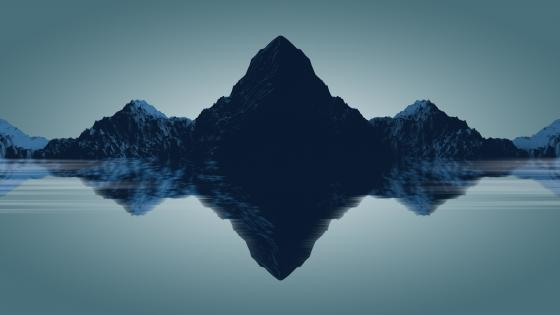 Low-poly blue landscape wallpaper