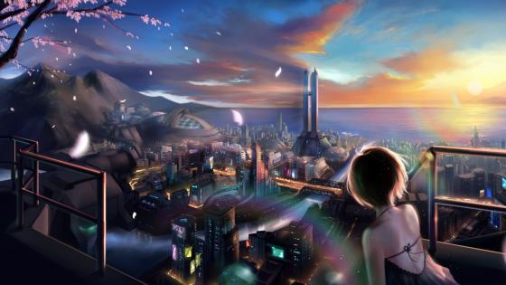 Futuristic anime city wallpaper