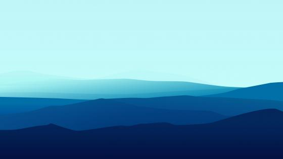 Blue gradient minimalist mountains wallpaper