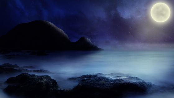 Fantasy seascape at full moon wallpaper