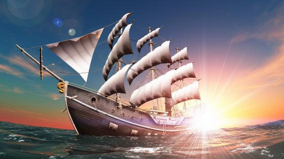 Old Sailing Ship 3D Digital Art wallpaper