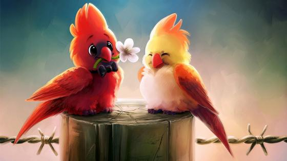 Bird romance Fantasy Art wallpaper