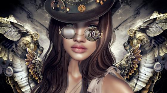 Steampunk angel wallpaper