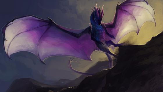Purple dragon fantasy art wallpaper