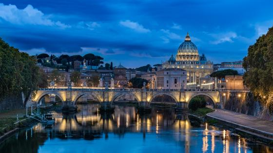 St. Angelo Bridge over the Tiber and the Saint Peter Basilica wallpaper