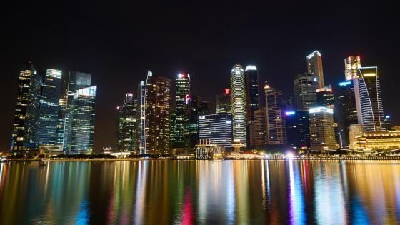 Singapore City Lights at Night wallpaper