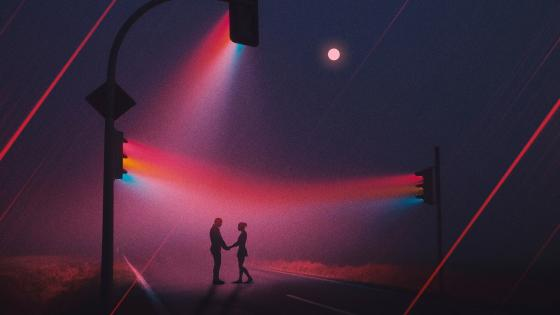 Love couple in the traffic lights at night wallpaper