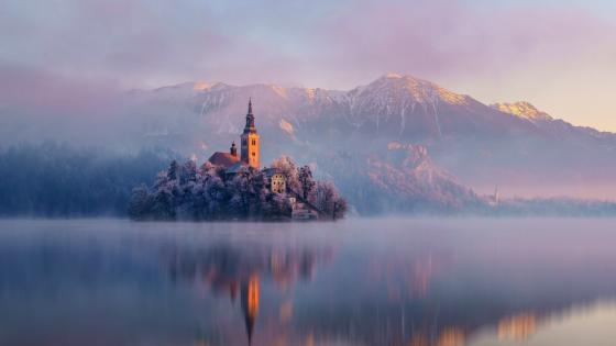 Mariinsky Church, Bled Island, Slovenia wallpaper