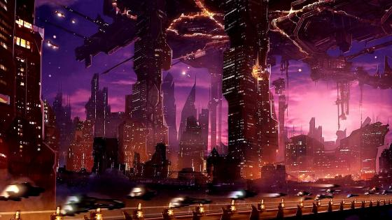 Futuristic City Digital Art wallpaper