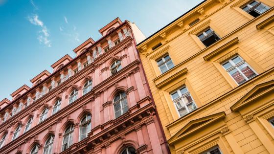 Colorful bildings of Prague wallpaper