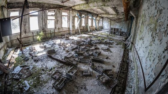 Abandoned building after the Chernobyl disaster wallpaper