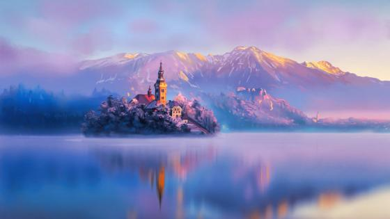 Bled Island on Lake Bled painting art wallpaper