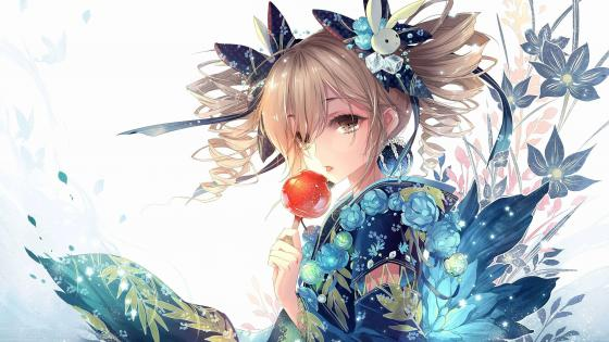 Anime girl in kimono - Japanese Anime art wallpaper