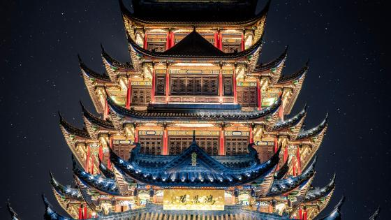 Pagoda under the starry sky wallpaper