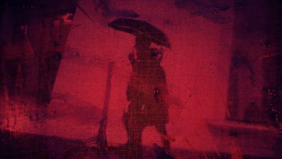 Man with umbrella shadow wallpaper