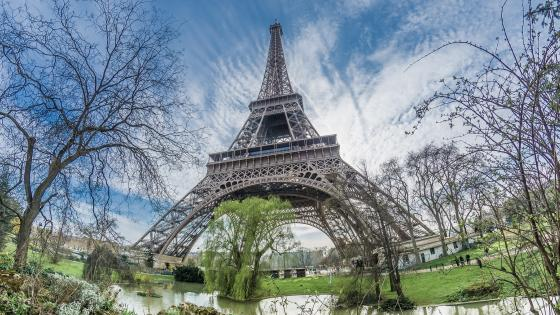 Eiffel Tower with Fisheye Lens wallpaper