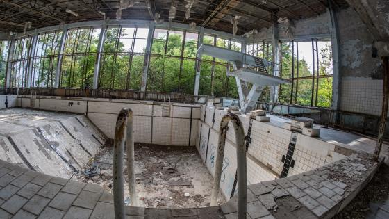 Swimming pool after the Chernobyl nuclear accident wallpaper