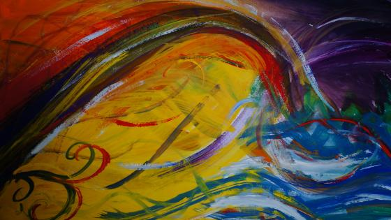 Colorful waves abstract art wallpaper