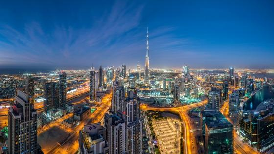 Dubai skyline with the Burj Khalifa wallpaper