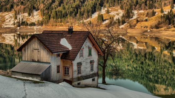 Lakeside house in a valley wallpaper