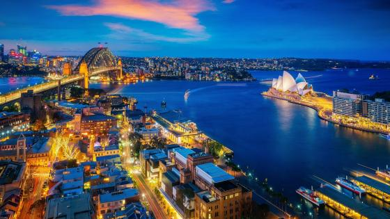Sydney skyline at dusk wallpaper