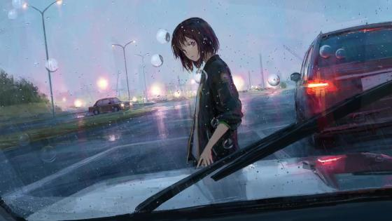 Girl in The Rain wallpaper