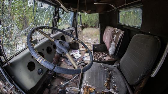 Truck wreck in Chernobyl wallpaper